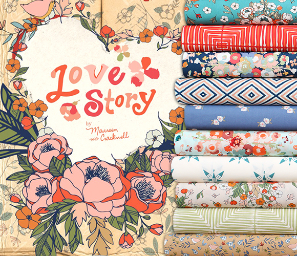Art Gallery Fabrics Love Story Collection by Maureen Cracknell